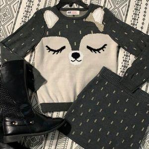 H&M Fox 🦊 2pc Sweater Skirt Set